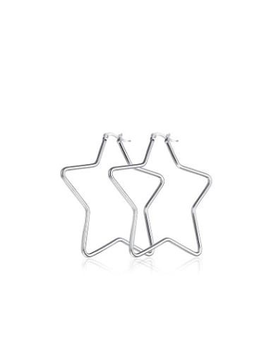 Exaggerated High Polished Star Shaped Titanium Drop Earrings
