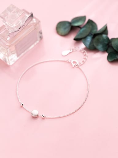 Sterling silver simple round frosted bracelet