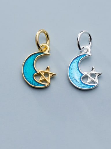 925 Sterling Silver With Enamel  Simplistic Moon Charms