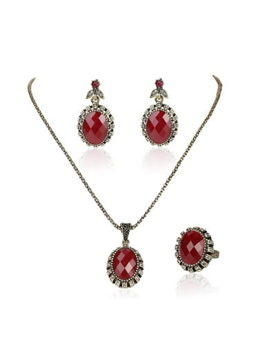 Retro style Red Oval Resin stones Alloy Three Pieces Jewelry Set