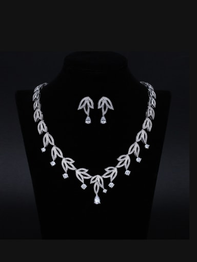 New Original Zircon Bride's Wedding Necklace Earring Jewellry Suit