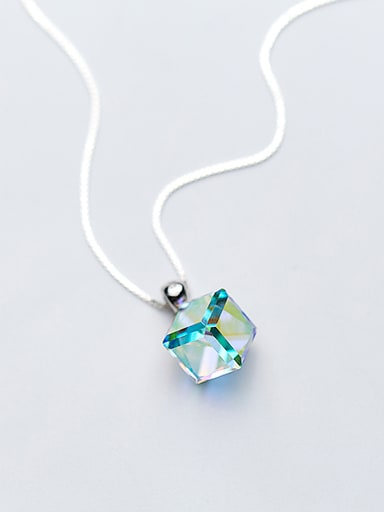 All-match Multi-color Square Shaped Crystal S925 Silver Pendant