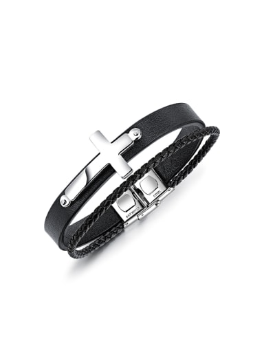Personalized Woven Black Artificial Leather Two-band Cross Bracelet