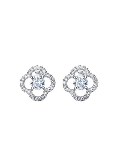 Simple Hollow Clover Shiny Stud Earrings