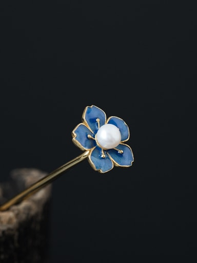 S925 Silver Enamel Flower Hair Pick