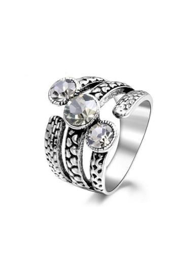 Unisex Three Layer Silver Plated Rhinestone Ring