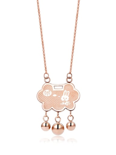 Chinese Wind Lock Stainless Steel Rose Gold Rabbit Necklace