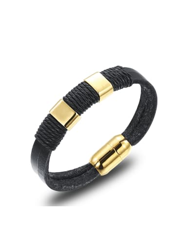 Simple Black Artificial Leather Sporty Men Bracelet
