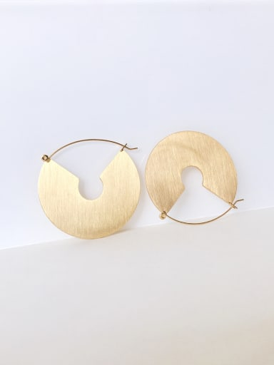 Stainless steel retro sector Disc Earrings