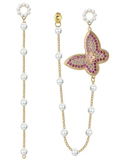 New fashions micro-inlay zircon butterflies pearls Tassel Earrings