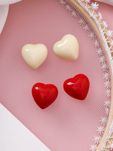 Alloy With Platinum Plated Cute Heart Stud Earrings