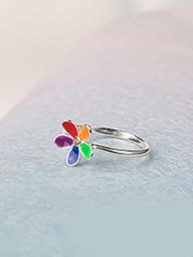 Fashion Colorful Flower Silver Women Ring