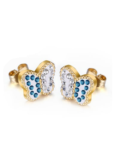 All-match Double Colorful Butterfly Shaped Rhinestones Stud Earrings