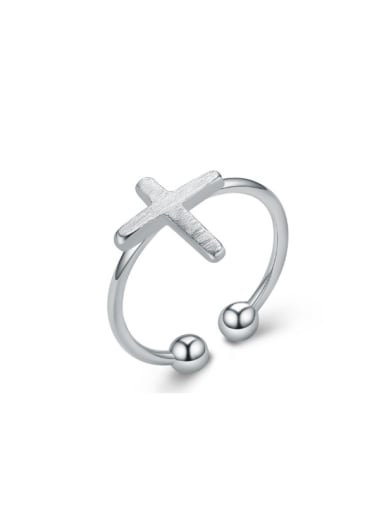 Cross Pattern Drawing Silver Opening Ring