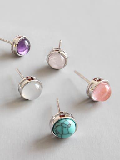 Sterling Silver half jewel style Onyx crystal blue sandstone earrings