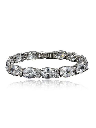 Exquisite Platinum Plated Geometric Zircon Bracelet