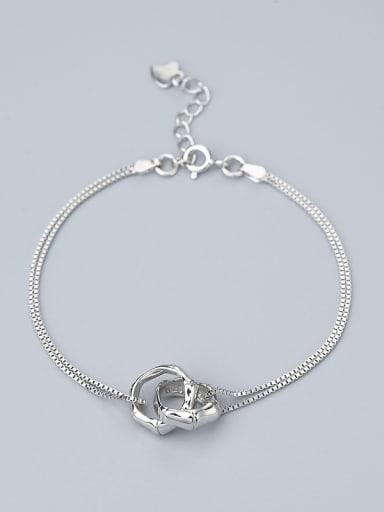 Adjustable Length 925 Silver Ring Shaped Bracelet
