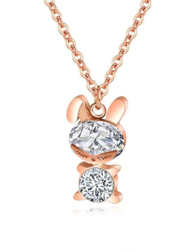 Stainless Steel With Rose Gold Plated Cute Bobbi bear Necklaces