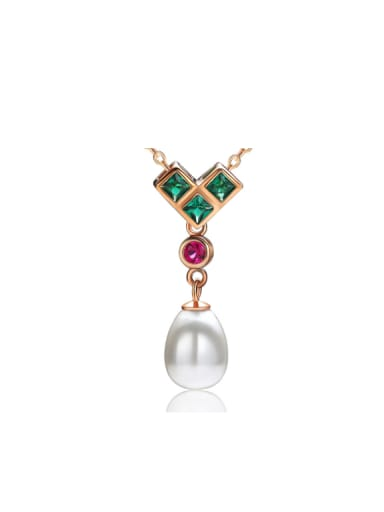 National Style Freshwater Pearls Zircons Necklace