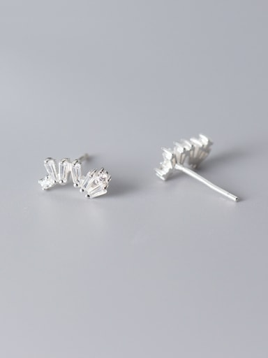 925 Sterling Silver With Platinum Plated Simplistic Irregular Stud Earrings