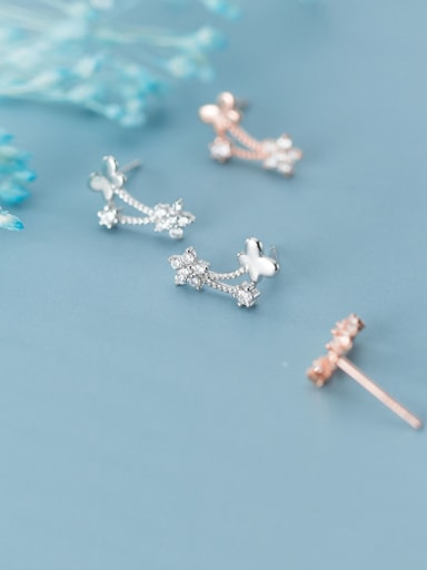 925 Sterling Silver With Platinum Plated Personality Bowknot Stud Earrings