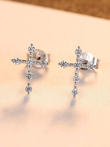 925 Sterling Silver With Fashion Cross Stud Earrings