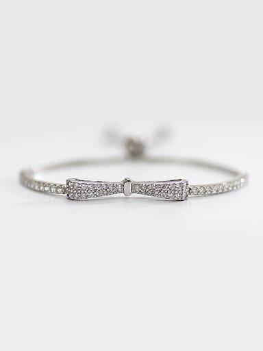 Fashion Little Bowknot Cubic Zirconias Silver Adjustable Bracelet