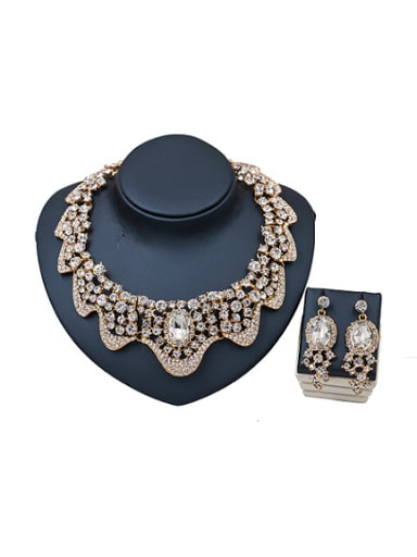2018 2018 Cubic Glass Rhinestones Two Pieces Jewelry Set