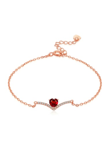 Exquisite Heart-shape Rose Gold Plated Bracelet