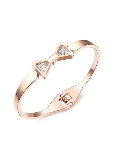 Fashion Bowknot Zircon Rose Gold Plated Titanium Bangle
