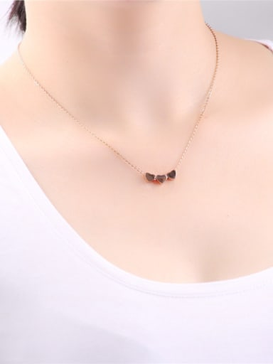 Three Heart  shape Pendant Clavicle Necklace