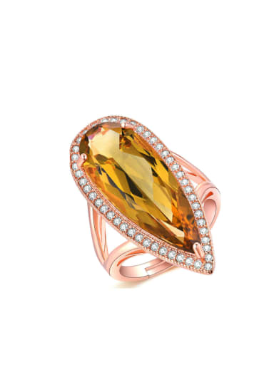 Natural Yellow Crystal Noble Women Adjustable Ring