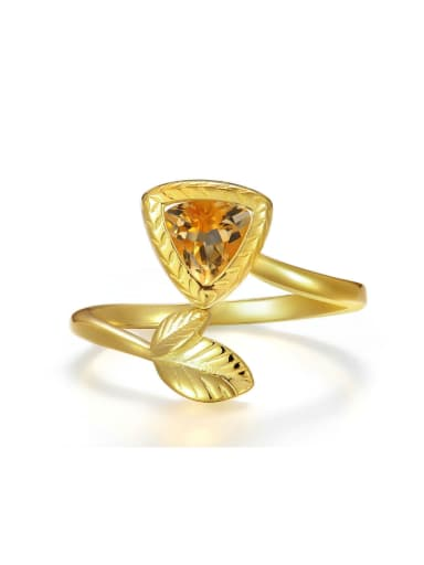 Leaf and Rectangle Shaped Women Opening Ring