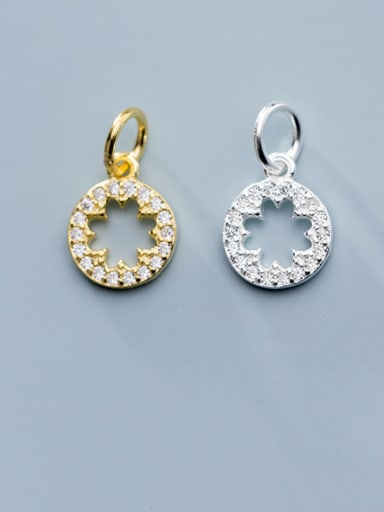 925 Sterling Silver With Cubic Zirconia  Simplistic Round Charms