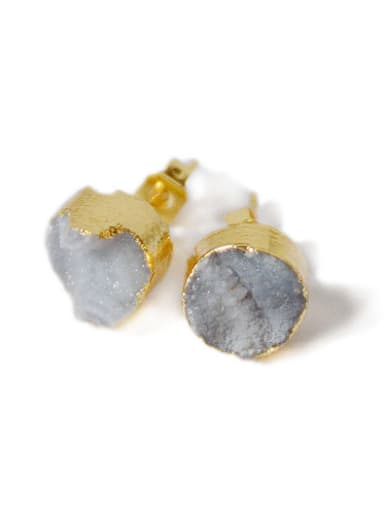 Simple Tiny Natural Crystal Round Stud Earrings