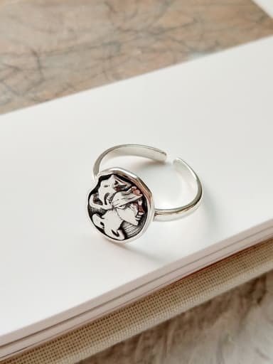 Sterling Silver Antique portrait ring