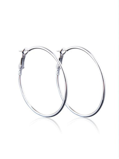 Stainless Steel With Silver Plated Exaggerated Round Earrings
