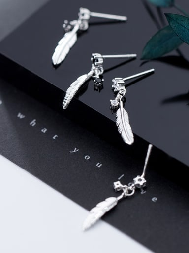 925 Sterling Silver With Platinum Plated Simplistic Feather Drop Earrings