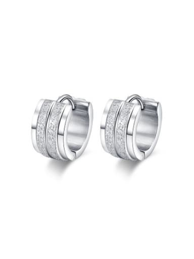 Fashionable Geometric Shaped Stainless Steel Frosted Clip Earrings