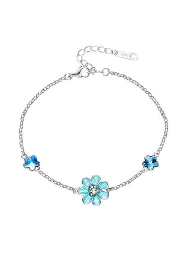 Fashion Swarovski Crystals Flowers 925 Silver Bracelet