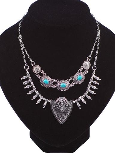 Bohemia style Turquoise stones Double Layers Alloy Necklace