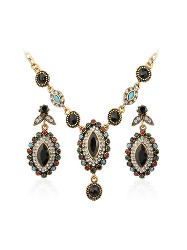 Antique Gold Plated Bohemia style Resin stones Alloy Two Pieces Jewelry Set