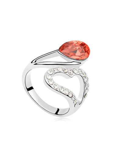 Fashion Hollow Heart Water Drop Swarovski Crystal Alloy Ring