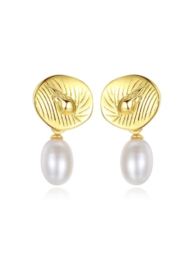 Sterling silver plated-18k gold natural pearl conch Earrings
