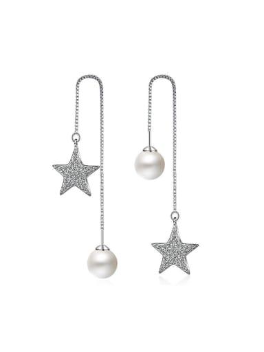 Fashion Shiny Star Imitation Pearl Line Earrings