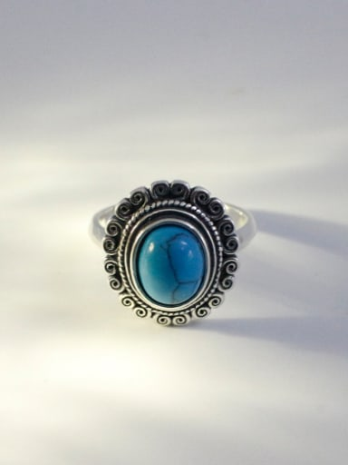 Retro style Oval Turquoise stone Silver Opening Ring