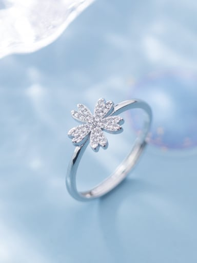 925 Sterling Silver With Platinum Plated Simplistic Flower Band Rings