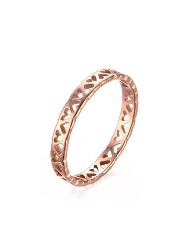 Temperament Rose Gold Plated Hollow Heart Titanium Ring