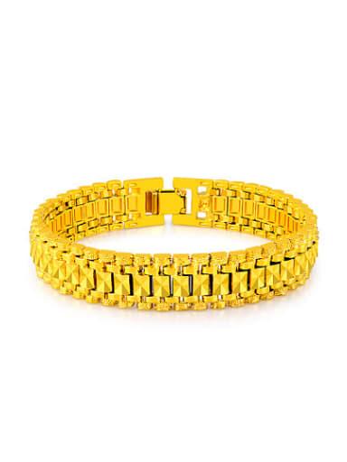 Women Exquisite 24K Gold Plated Geometric Shaped Copper Bracelet