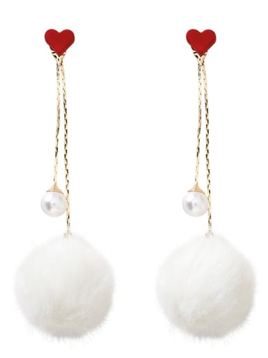 Alloy With Gold Plated Simplistic Round  Plush ball Threader Earrings